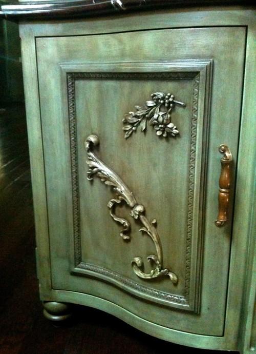 Kitchen hutch door with embellishments